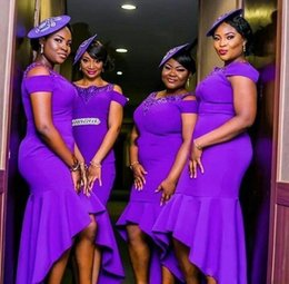 Hi low bridesmaids dresses online shopping - 2020 Sexy African Purple Mermaid Bridesmaid Dresses Off Shoulder High Low Plus Size Party Dress Junior Maid Of Honor Gowns For Wedding