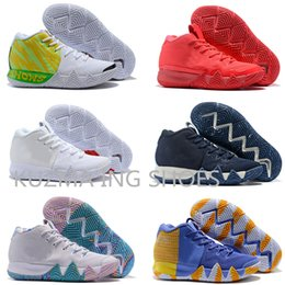 Kyrie IV bianco verde Lucky Charms London Mens 2018 All New Xmas Scarpe da basket Irving 4 Sports Training Sneakers in foglia d'acero