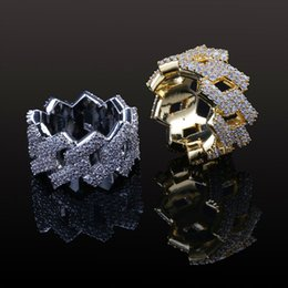 gypsy cluster ring 2019 - New Fashion Diamond Ring Men Hip Hop Jewelry Bling CZ Stone Iced Out 18K Gold Plated Hiphop Gold Rings discount gypsy cl