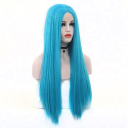 Hand Tied Lace Front Wigs Australia - Sky Blue Straight Hand Tied Synthetic Lace Front Wig Heat Resistant Fiber Natural Hairline Middle Parting For Women