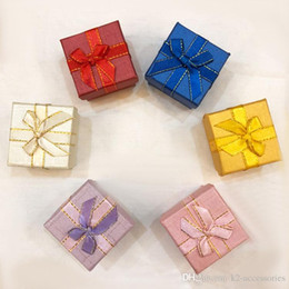 Wedding Display Cases Canada - Cheap ring, earring, pendant jewelry packaging display box love gift wedding favor bag packing case