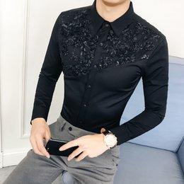 shirts korean Australia - British Style Hotel Wind 2018 Autumn And Winter Korean Man Long Sleeve Shirt Lace Lace Split Joint Hairstyle