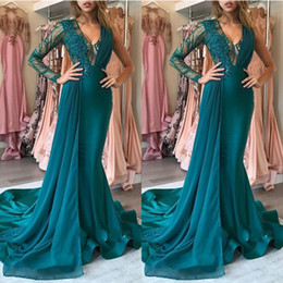 unique long prom dresses NZ - Fashion New Teal Mermaid Prom Dresses Unique Shiny Lace Abiye Long V-neck One Shoulder Evening Dresses Abendkleider 2020