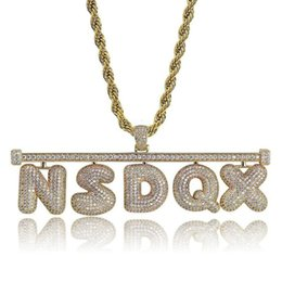 bubble stone Australia - A-Z Hip Hop Custom Name Bubble Letter Necklace Gold Silver Color New Style Iced Out Micro Paved CZ Stone Necklace for Men Women