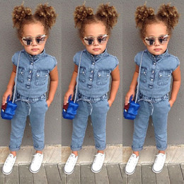 $enCountryForm.capitalKeyWord Australia - Hot Summer Baby Girls Jeans Jumpsuits Kids Short Sleeve Onesies Rompers Children Girl Denim Jumpsuits 4856