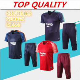 BreathaBle man pants online shopping - Messi Suarez training suit Short sleeve pants soccer jersey sportswear Messi track suit Barcelonas sweater