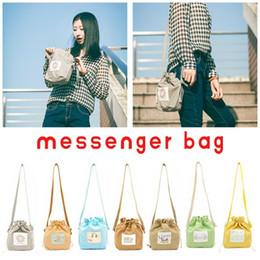 Cute Canvas Handbags Australia - Candy Color Drawstring Messenger Canvas Bag For Women Handbag Mini Shoulder Bags Crossbody Cute Women Shopping Storage Hand Bag