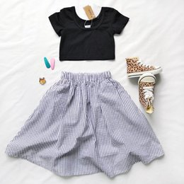 chinese suit skirt Australia - Girls' children's clothing spring and autumn shorts halter T-shirt striped skirt children's cute temperament two-piece suit cotton short sle