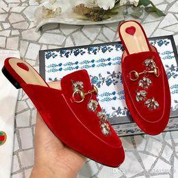 $enCountryForm.capitalKeyWord Australia - 2019 spring and summer new European and American metal buckle rhinestone suede ladies semiskid women's shoes low heel slippers flat qr
