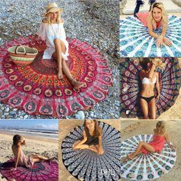 Discount table cloth sizing - Round Unicorn Beach Towel for Adult 64 Styles Chiffon Large Size Mandala Blankets Chiffon Skull Elephant Yoga Mat Table