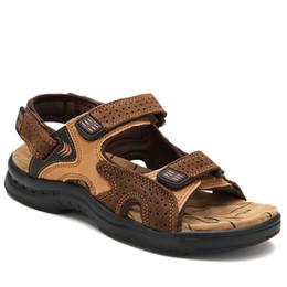 size 44 sandals 2019 - TOSJC Genuine Leather New Fashion Summer Breathable Men Sandals Beach Shoes Men's Causal Shoes Plus Size 39-44 RXM0