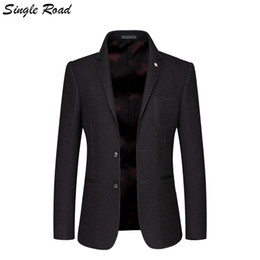 Velvet Classic Jacket Australia - Single Road Men's Classic Suit Jacket 2019 Slim Fit Woolen Blazer Wedding Man Jacket Winter Classic American Blazer Velvet SR12