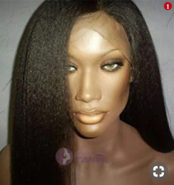 Coarse Yaki Lace Australia - Italian Yaki lace front Human Hair Wig for black women Pre-plucked coarse yaki straight Virgin Brazilian Hair 360 Lace Frontal Wig