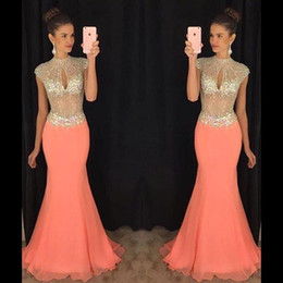 White busts online shopping - 2019 New Coral Mermaid Prom Dresses Cap Sleeve Bling Bling Rhinestone Keyhole Bust Chiffon Evening Dresses Illusion Formal Evening Gowns