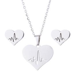 $enCountryForm.capitalKeyWord NZ - wedding bride jewelry sets choker silver chain necklace heart heartbeat stainless steel jewellery sets for women earrings earing