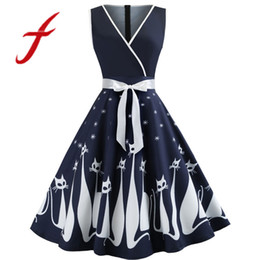 China Feitong Vintage Women Dress Sexy Cat Printed V Neck Sleeveless Evening Party Dress Swing Retro Dress vestidos verano 2019 cheap cat printed dress suppliers