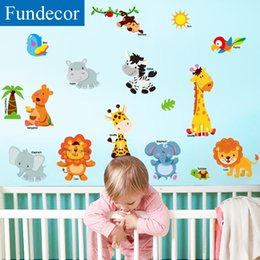 Stickers Girls Bedrooms Australia - [Fundecor] cartoon character animals wall stickers for kids rooms girls baby bedroom decoration children wall decals home decor