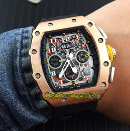 Big Rose Watches Australia - Special Sale High Quality RM 11-03RG Skeleton Big Date Dial Japan Miyota Automatic RM11-03 Mens Watch Rose Gold Case Rubber Sport Watches