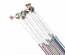 wholesale toys fishing UK - pet cat kitten toys teaser wands fishing pole wands flying insect cat playing toys feather