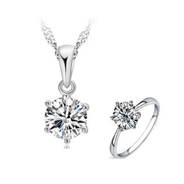diamond necklace bracelet ring set 2019 - MeiBaPJ Real Moissanite Diamond 6 Claw Jewelry Set 925 Silver Ring Pendant Necklace 2 Pieces Suits Wedding Jewelry for W