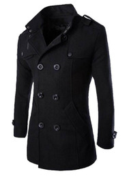 double breasted color coat 2019 - Mens British Double Breasted Warm Coats Winter Slim Wool Blends Outerwear Coats Male Fashion Clothing Coats Tops cheap d