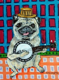 $enCountryForm.capitalKeyWord NZ - Animals Art Pug Playing Banjo , Oil Painting Reproduction High Quality Giclee Print on Canvas Modern Home Art Decor