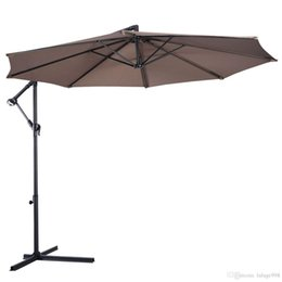 market umbrellas NZ - 10' Ft Hanging Umbrella Patio Sun Shade Offset Outdoor Market W  Cross Base Tan