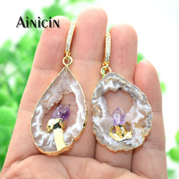 $enCountryForm.capitalKeyWord Australia - Natural Hollow Out Druzy Purple Crystal Inlay Dangle Earrings For Luxury Women Party Jewelry Rhinestone Setting Hook Earring J190630