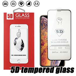 tempered glass screen iphone 6s Canada - For iPhone 11 XS MAX Full Cover Tempered Glass 5D Curved Edge to Edge Full Glue Screen Protector For iPhone 8 7 6S Plus With Retail Box