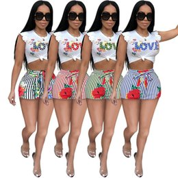 Sexy pajama clotheS online shopping - Women Clothing Love Print Shorts Sets Petal Sleeve Crop Top Shirt Floral Stripe Shorts Piece Tracksuits Fashion Streetwear Outfit C62506