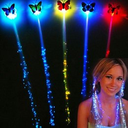 $enCountryForm.capitalKeyWord Australia - Colorful Butterfly LED Wigs Glowing Flash Hair Accessories Braid Clip Hairpin Decoration Ligth Up Show New Year Christmas Party
