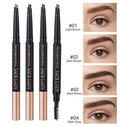 pencil cosmetics Australia - Eyebrow Pencil Waterproof Rotating Automatic 4 Color Eyeliner Natural Eye Brow Deep Light Black Dark Pencil With Brush Beauty Cosmetic Tool