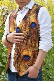 Rustic Vests Australia - 2019 Airtailors Designed Peacock feathers Style Camouflage Vest for Rustic Wedding Fashion Dress Vest Color Gold