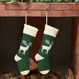 football decor Canada - 1pc Christmas Socks Deer Printed Knitted Acrylic Hosiery Gift Holder Tree Ornament Stocking Fireplace Hanging Decor For Candy Pr