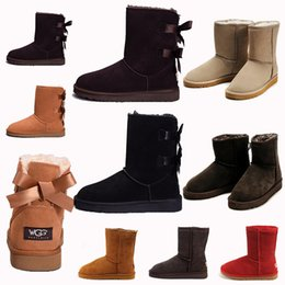 Paint heels online shopping - 2020 Designer Women Winter Snow Boots Fashion Australia Classic Short bow boots Ankle Knee Bow girl MINI Bailey Boot