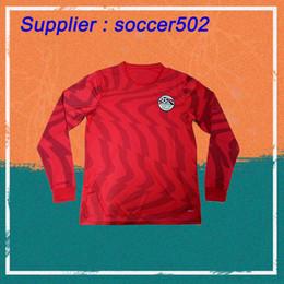 Discount sports shirts long sleeve - 2019 Egypt Long sleeve Soccer Jersey 19 20 Home Red 10 M.salah Shirt National Team Sports Customized Football Uniforms