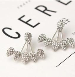 $enCountryForm.capitalKeyWord NZ - Fashion Water Drop Stud Earrings Rhinestone Front Back Paw Double Sided Stud Earrings For Women Ear Jacket Piercing Earings