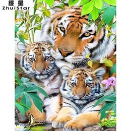 AnimAl crossing stickers online shopping - 5D DIY Diamond Painting Animal Happy Tiger Family Sticker Embroidery Full Square Diamond Cross Stitch Rhinestone Mosaic Painting