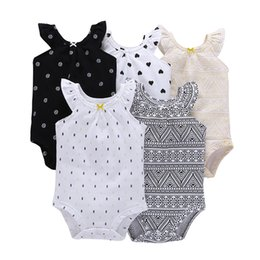 red baby vest UK - Summer Baby Girl Clothes O-neck Sleeveless Dot Rompers Cotton Unisex Newborn Set Toddler Infant Costume New Born Outfit 2019 J190514