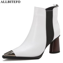 Boots for girls high heel online shopping - ALLBITEFO metal toe genuine leather sexy high heels ankle boots for women new winter snow girls shoes martin boots women