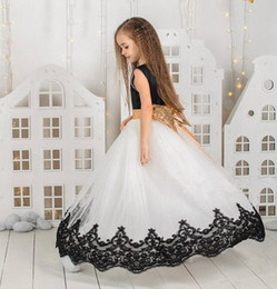 party kids special occasion dresses NZ - Special Occasion Black Lace Gold Bow Pincess Pageant Flower Girl Dresses Party Dress Kids Prom Gown Children Dress DHA24