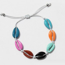wholesale jewelry south america UK - 12pcs lots Europe and America Simple style adjustable braided hand gift fashion jewelry Color alloy Sandy beach Shell bracelets for women