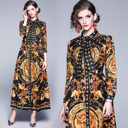 woman dress winter buttons NZ - Luxury Baroque Print Bow Vintage Dress Plus Size Women Runway Designer Party Prom Winter Ladies Long Sleeve Button Front Shirt Dresses