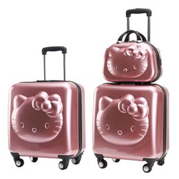 $enCountryForm.capitalKeyWord Australia - HOT!Hello Kitty Lovely 2PCS SET Cosmetic Bag Trolley Suitcase women girls travel rolling luggage makeup box 18 20 24 inch