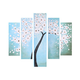 tree painting living room UK - 5-Panel Unframed Waterproof 3D Hand-Painted Oil Painting Abstract Flower Tree Canvas Picture Wall Art Decor for Living Room Office