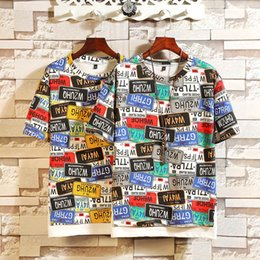 Discount letters stitch clothing - 19 summer new mens t shirt large size loose type letter printed hem stitching youth short-sleeved T-shirt panelled men d