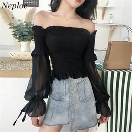 $enCountryForm.capitalKeyWord NZ - Neploe Black Solid Vintage Chiffon Shirts Off Shoulder Slash Neck Women Tops Slim Long Sleeve See-through Sunscreen Blusas 68074 Q190521