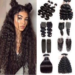 34 inches hair Australia - Wholesale 10a Human Hair Bundles With Closure Straight Body Deep Water Wave Brazilian Virgin Hair 3 4 Weave Bundles Weft With Lace Closure