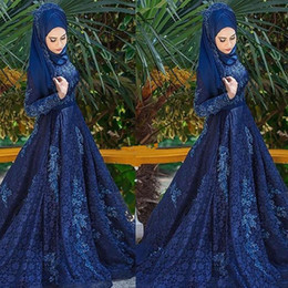 $enCountryForm.capitalKeyWord Australia - Muslim Lace Women Formal Evening Dresses Hijab Long Sleeve Appliques 2019 Plus Size A Line Formal Prom Party Gowns
