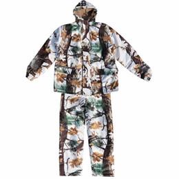 f0ade03dccf52 Men Outdoor Snow Camouflage Winter Hunting Clothes Snow Bionic Camouflage  Hunting Suits Winter Coat Pants with Fleece